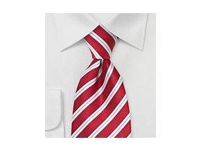 Kravata červená s bílými proužky