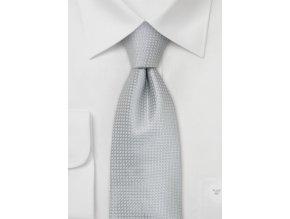 Kravata stříbrná hedvábná