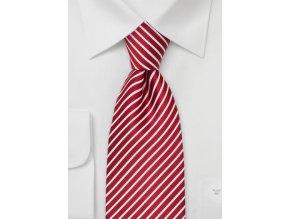 Kravata hedvábná červená s bílými proužky