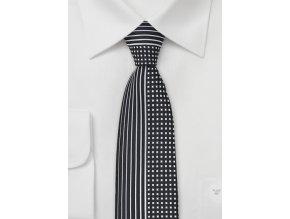Kravata černobílá s rozděleným vzorem