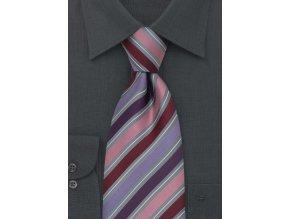Kravata fialovo - růžová proužkovaná