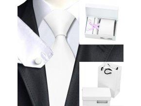 Luxusní dárkový balíček - kravata bílá
