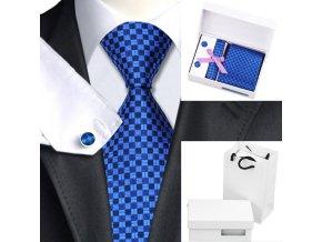 Luxusní dárkový balíček - kravata modrá čtverečková