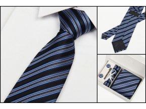 Luxusní dárkový balíček - kravata modrá se světlými proužky