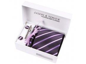 Luxusní dárkový balíček - kravata tmavě fialová se světlými proužky