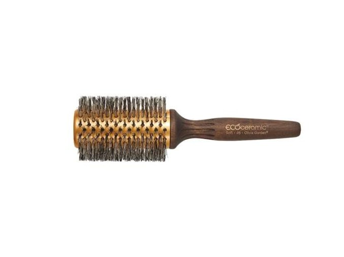 Olivia Garden Wood Ecoceramic Soft Bristles - keramický kartáč na vlasy s dřevěnou rukojetí a kančími štětinami