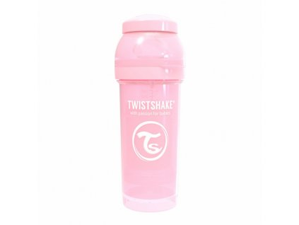 twistshake kojenecka lahev anti colic pastel 260ml light pink