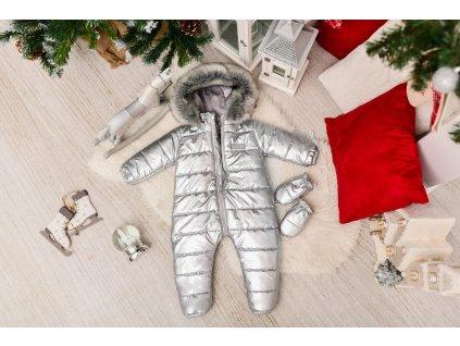 Zimní Fashion Overal - Stříbrná