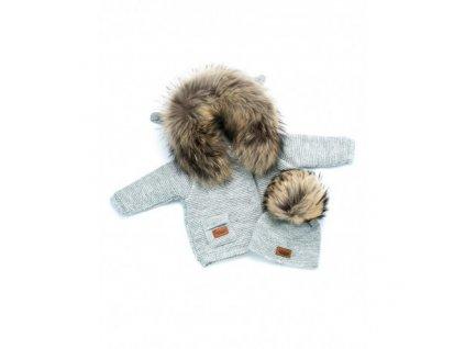 LAttante set pletený svetr s čepičkou - Šedá