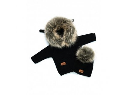 LAttante set pletený svetr s čepičkou - Černá