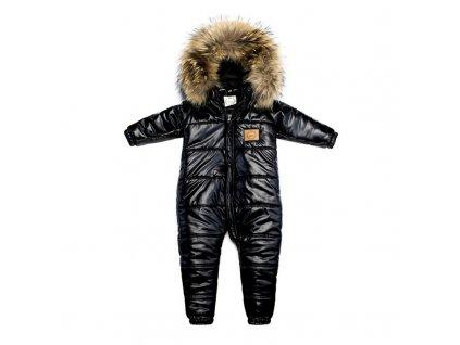 LAttante - Zimní fashion overal s umělou kožešinou - Černá lesklá
