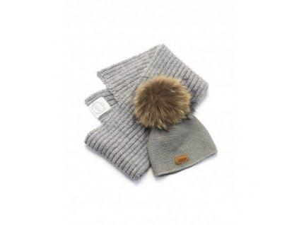 czapka i szalik kolor szary