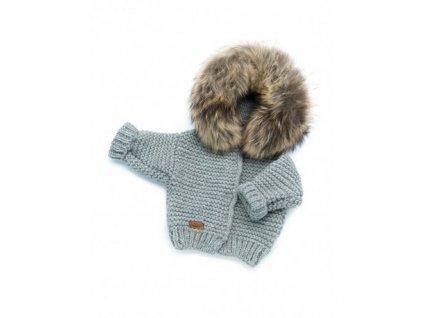 sweter recznie tkany z futrem szary
