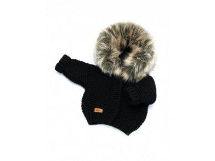 sweter recznie tkany z futrem sztucznym czarny