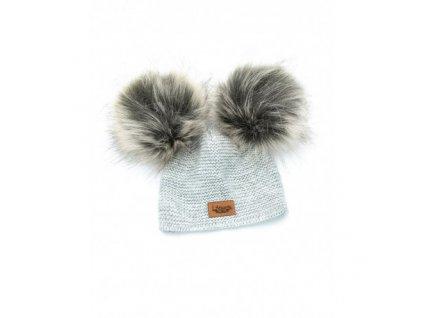 czapka baby alpaca jasno szara sztuczne futerko