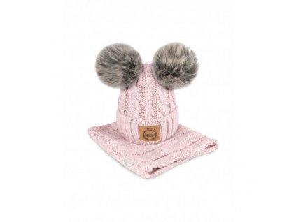 czapka i komin kolor rozowy sztuczne futro