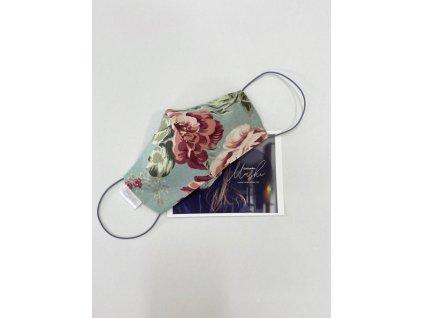 fashion bavlnena rouska pivonky