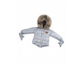 kurtka zimowa z rekawiczkami szara naturalne futerko