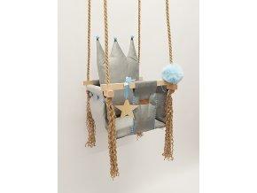 DĚTSKÁ HOUPAČKA CROWN - ŠEDÁ a bambulky modré