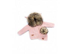 LAttante set pletený svetr s čepičkou - Růžová