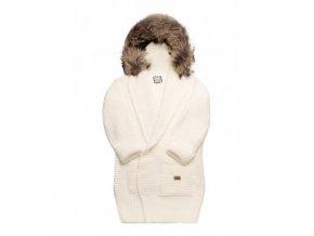 sweter recznie tkany z futrem mommy