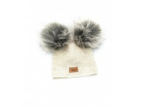 czapka baby alpaca bezowa sztuczne futerko