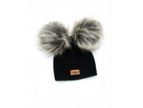 czapka baby alpaca sztuczne futerko czarna