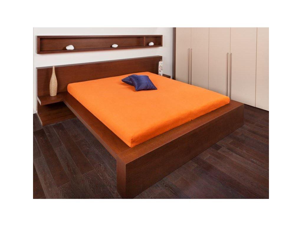 Froté prostěradlo 160x200 - oranžová