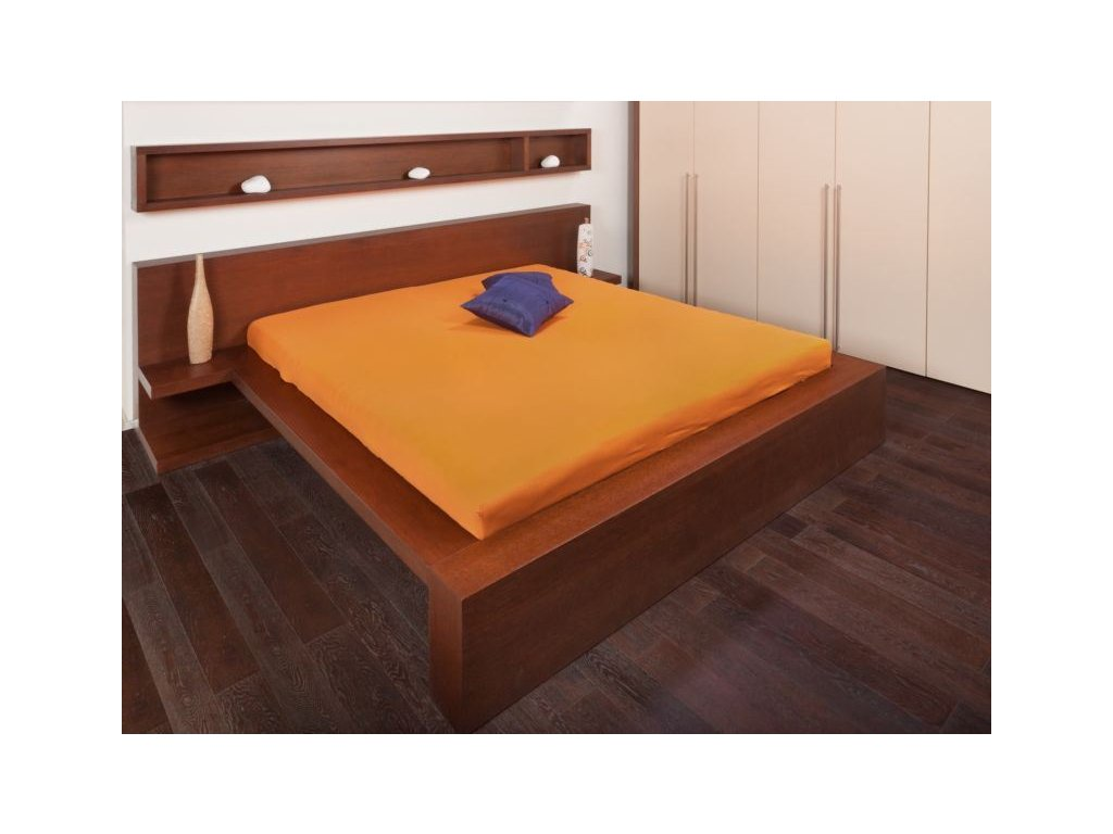 Jersey prostěradlo 90x200 - pomerančová