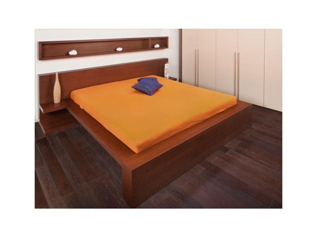 Jersey prostěradlo 180x200 - pomerančová