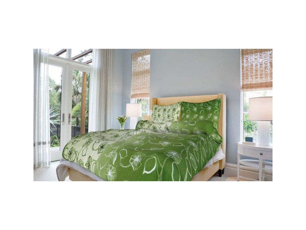 Bavlněné povlečení 140x200 - Nové stvoly zelené