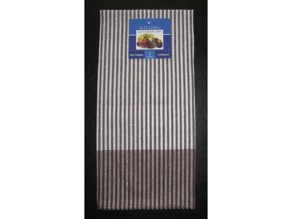 Kuchyňská utěrka hnědá - slabý proužek - 1 ks