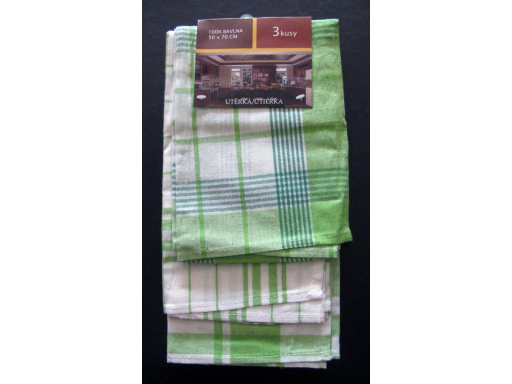Kuchyňská utěrka Hugo - zelená - 3 ks
