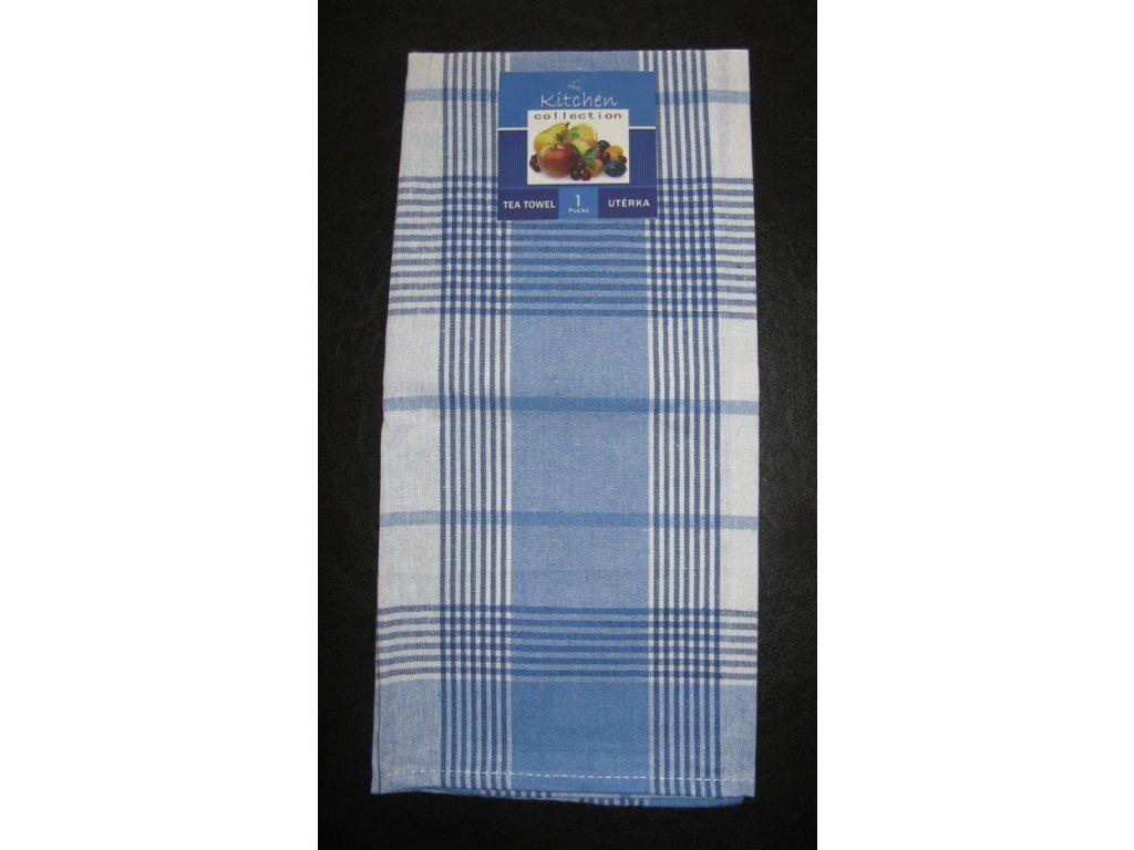 Kuchyňská utěrka modrá - proužek a kostka - 1 ks