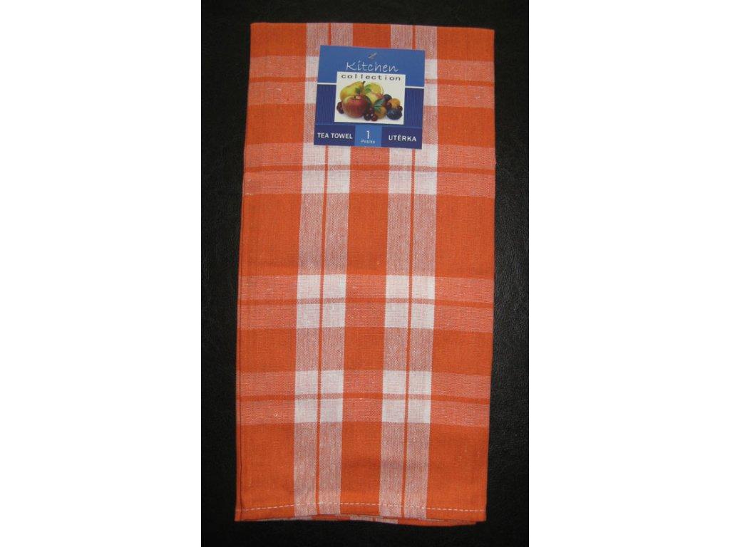 Kuchyňská utěrka oranžová - káro - 1 ks