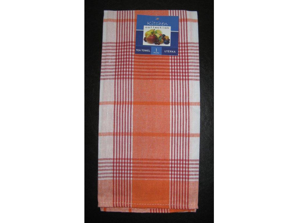 Kuchyňská utěrka oranžová - proužek a kostka - 1 ks