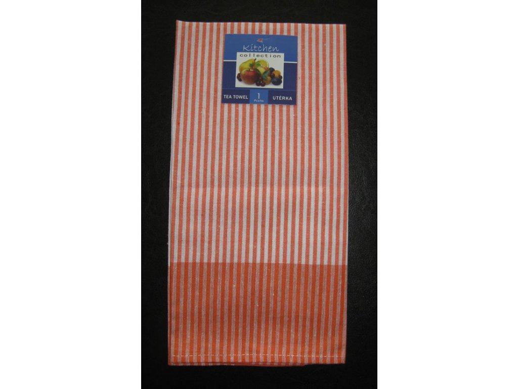 Kuchyňská utěrka oranžová - slabý proužek - 1 ks