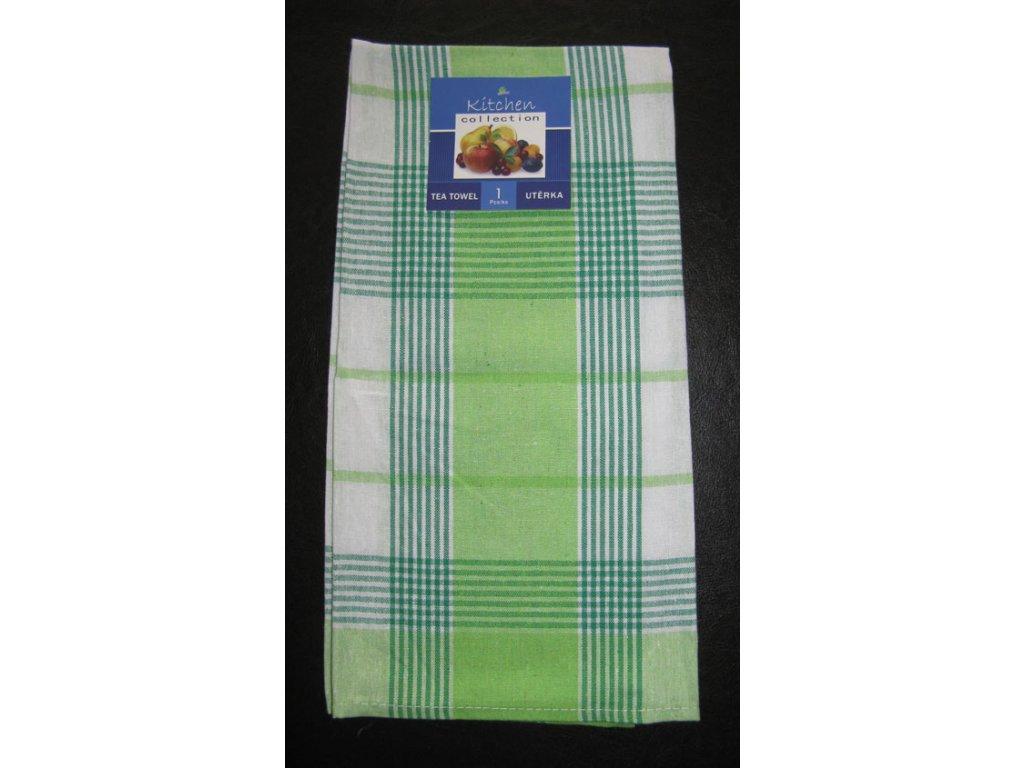 Kuchyňská utěrka zelená - proužek a kostka - 1 ks