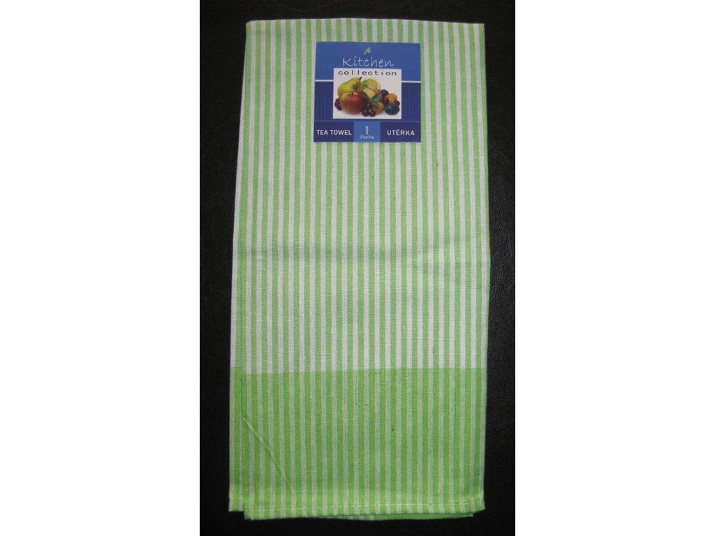 Kuchyňská utěrka zelená - slabý proužek - 1 ks