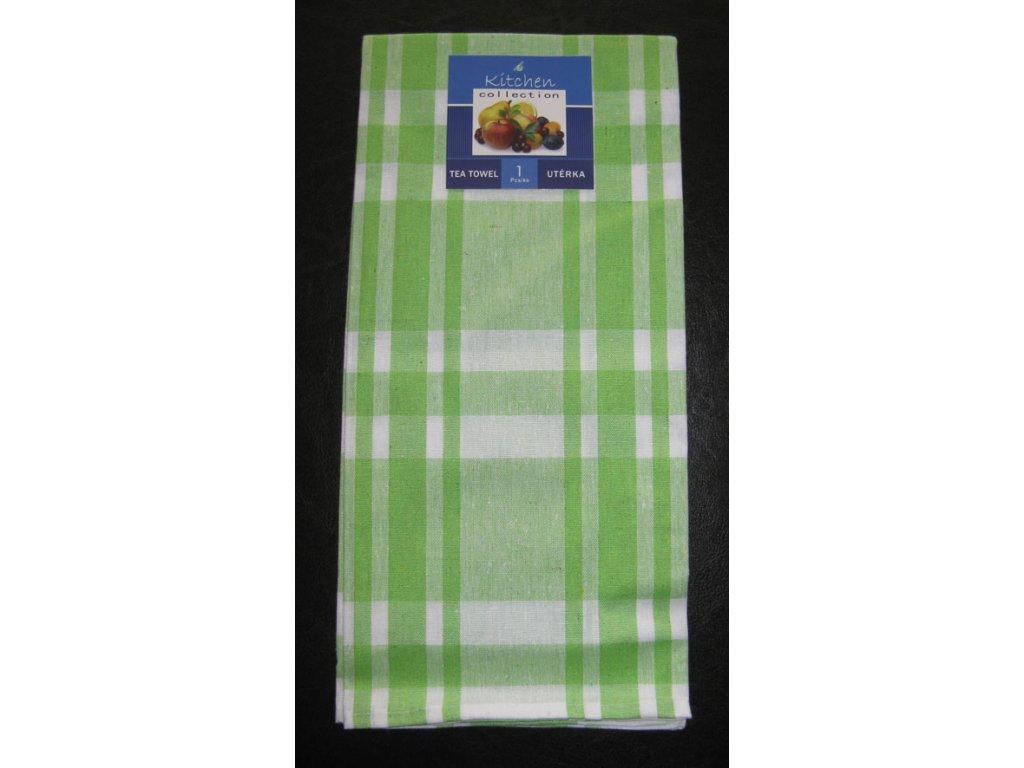 Kuchyňská utěrka zelená - širší pruhy - 1 ks