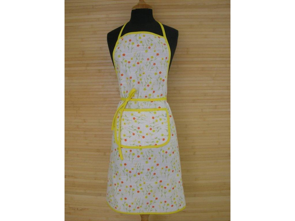 Kuchyňská zástěra - Jarní květiny žluté