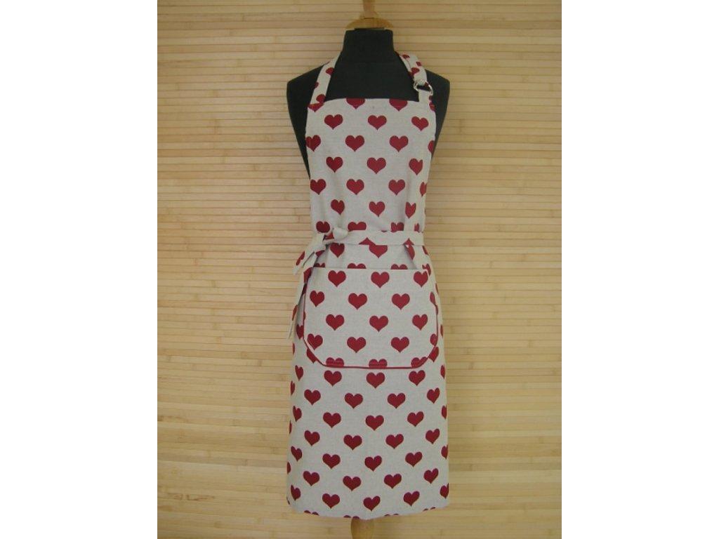 Kuchyňská zástěra - Valentino - srdce