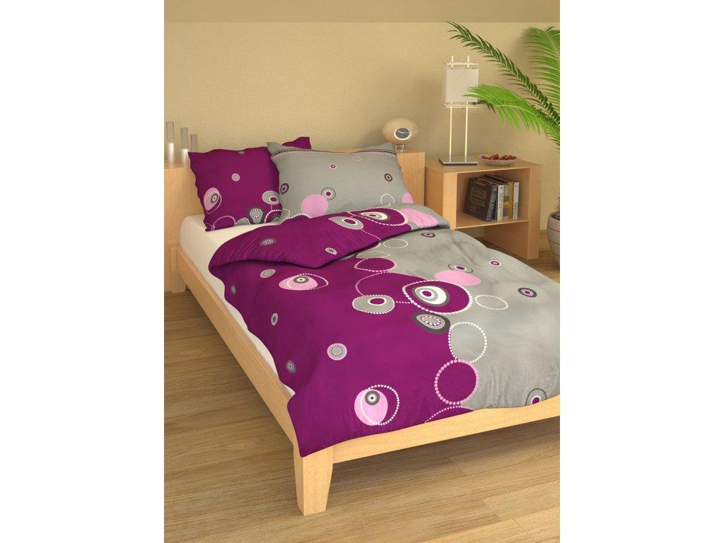 Bavlněné povlečení 140x200 - Perličky fialové
