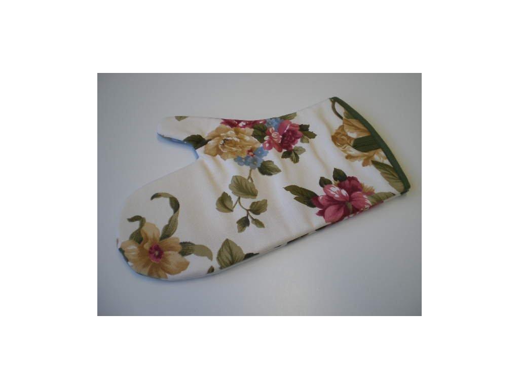 Kuchyňská chňapka - Květiny na smetanové