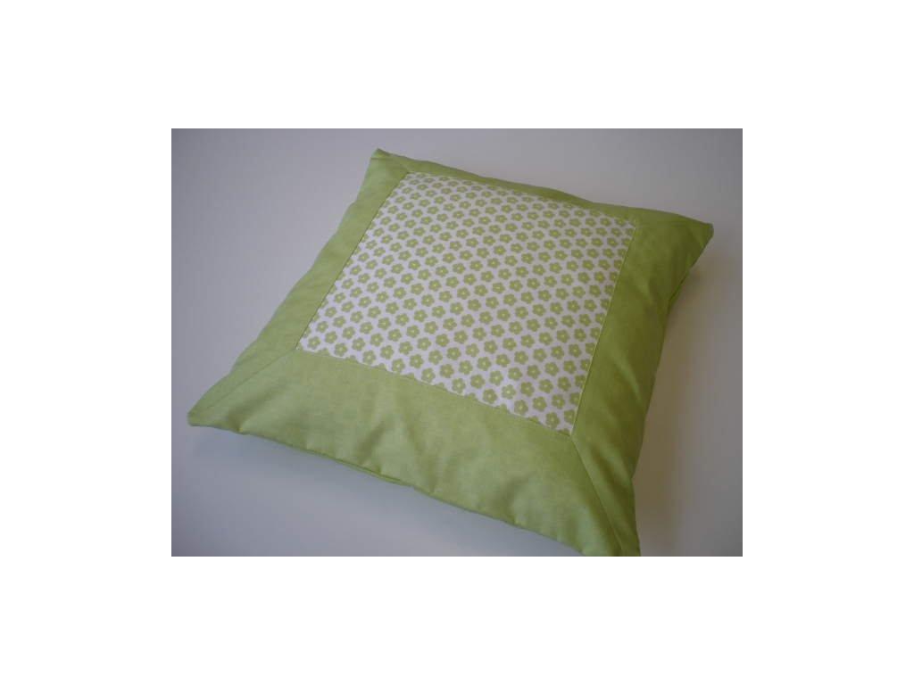 Povlak na polštář - Zelená kytička s lemem