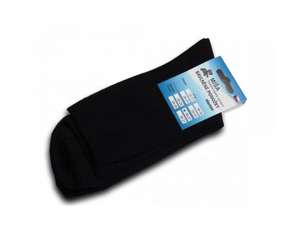 Bavlněné ponožky - černá hladká