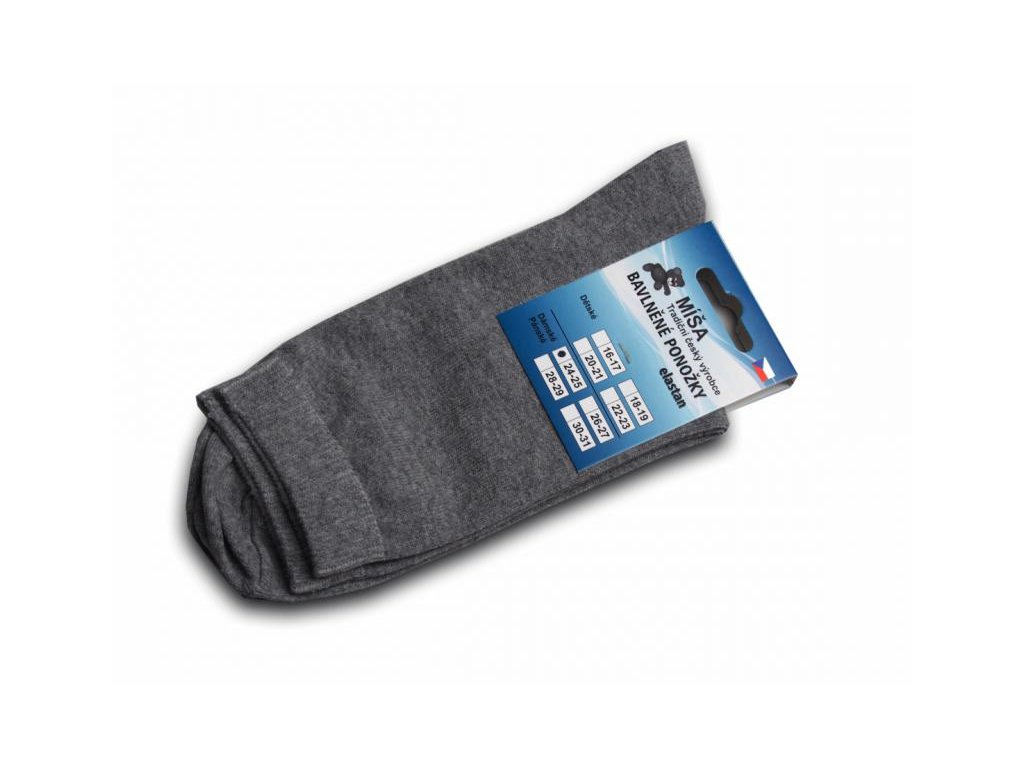 Bavlněné ponožky - šedá hladká