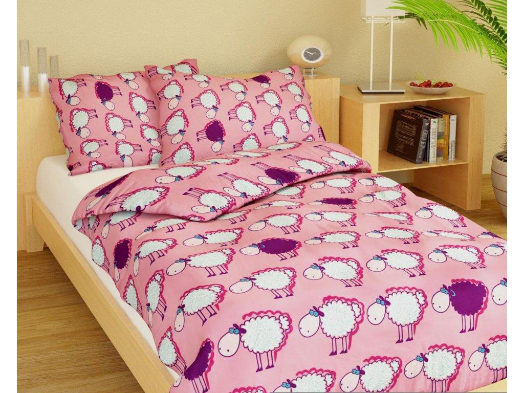 Dětské bavlněné povlečení - Ovečky růžové