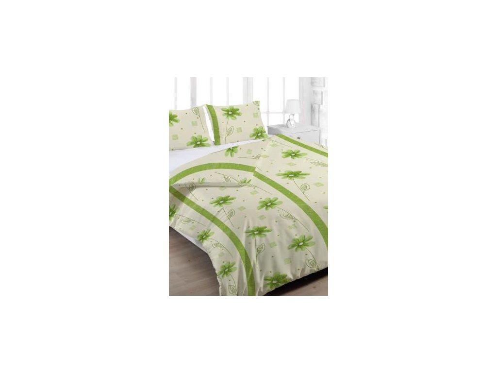 Bavlněné povlečení prodloužené (140x220) - Anežka zelená