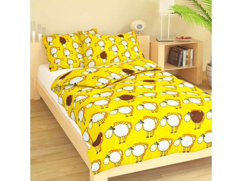 Dětské bavlněné povlečení - Ovečky žluté